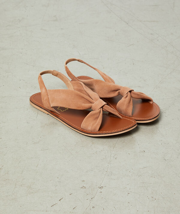Sandales plates effet daim