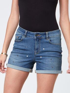 Short en jean à strass brut delave.