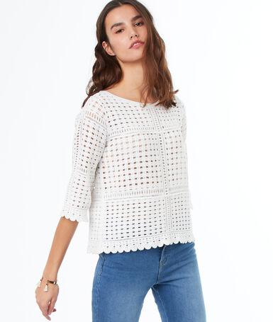 Pull tricot manches 3/4 en coton écru.
