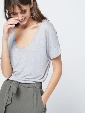 T-shirt uni col v gris chiné moyen.