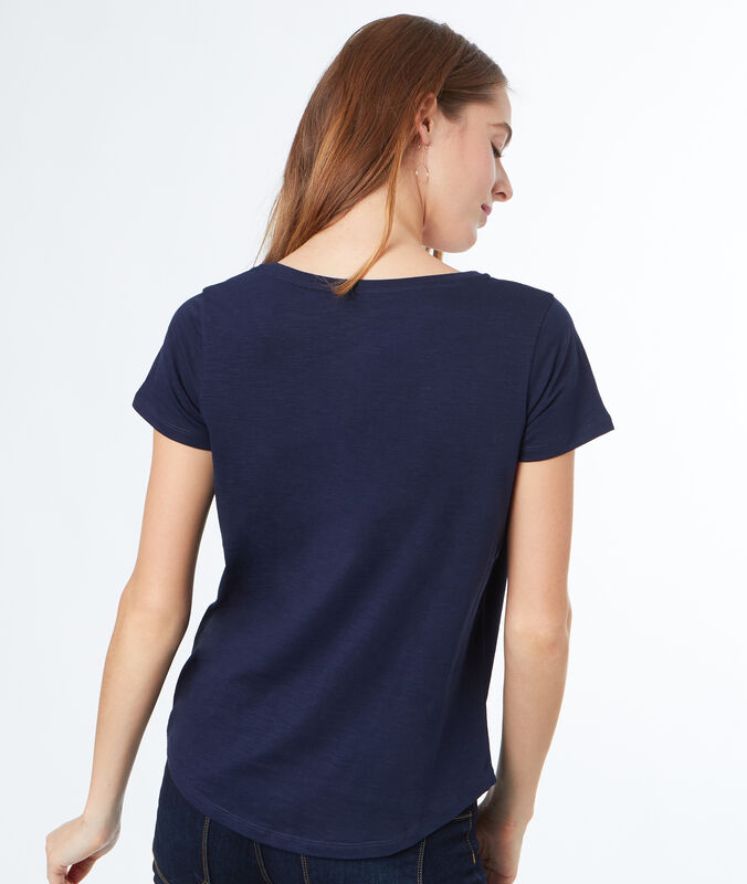 T-shirt col rond en coton bleu marine.