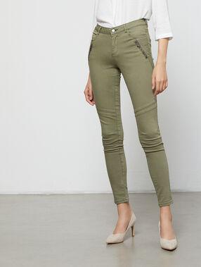 Pantalon slim à poches zippées kaki.