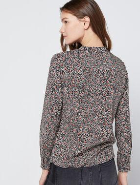 Chemise à imprimé floral 100% coton noir.