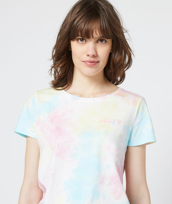 """T-shirt brodé """"Happy"""" tie and dye"""