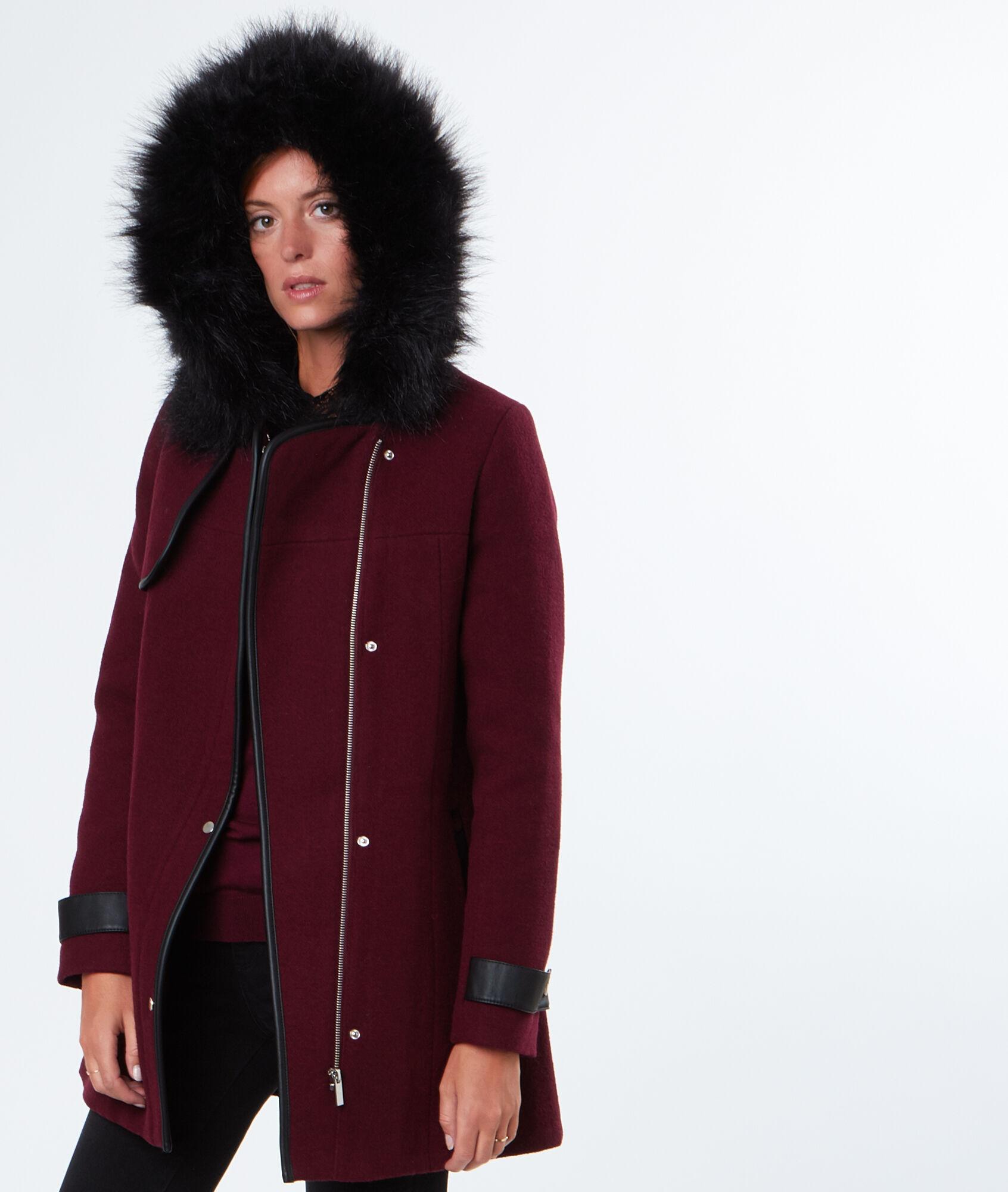 Manteau laine femme bordeaux