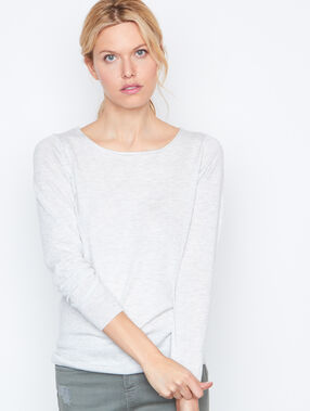 Pull manches longues dos dentelle gris.