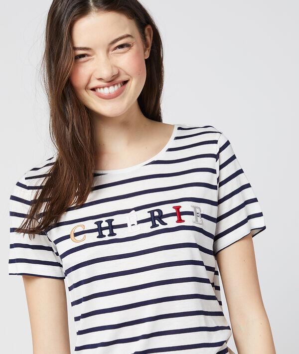 """T-shirt """"Chérie"""" à rayures"""