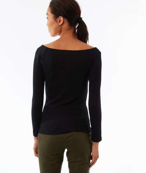 T-shirt col V à manches longues