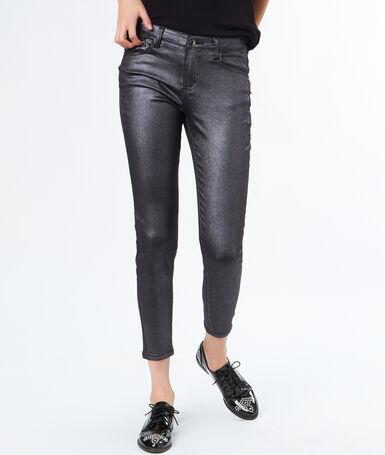 Pantalon skinny effet enduit argenté.