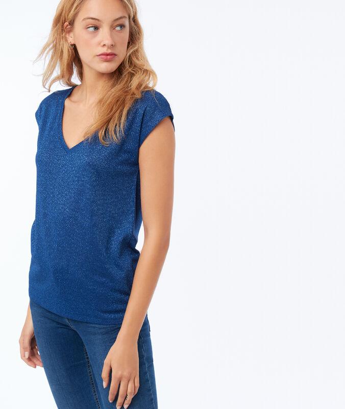 T-shirt col v à fil métallisé bleu moonlight.