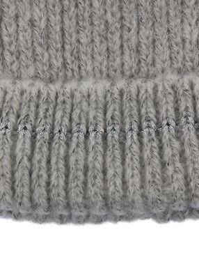 Bonnet à fil métallisé gris clair chiné.
