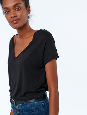 T-shirt uni col v noir.