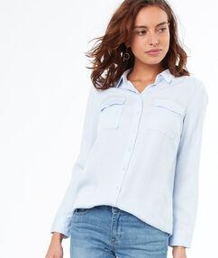 Chemise 2 poches en tencel® bleu clair.