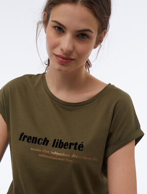 T-shirt à message kaki.