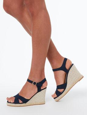 Sandales compensées bleu marine.
