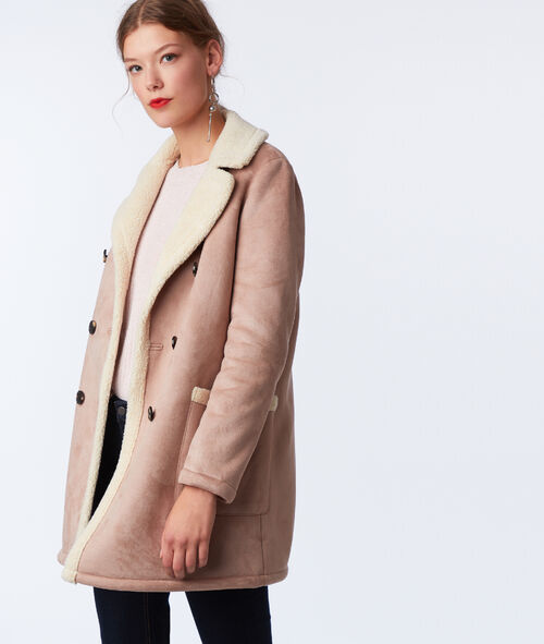 Manteau 3/4 effet peau lainée