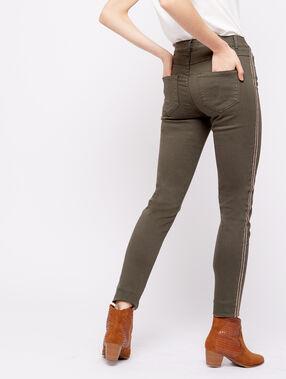 Pantalon skinny à bandes latérales kaki.