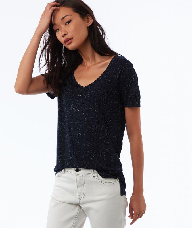 T-shirt à fils métallisés bleu marine.