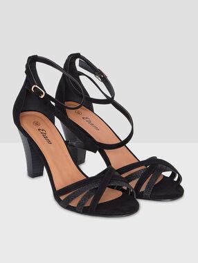 Sandales à talons lanières pailletées noir.