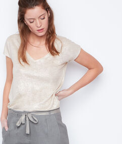 T-shirt col v effet lurex en lin sable.