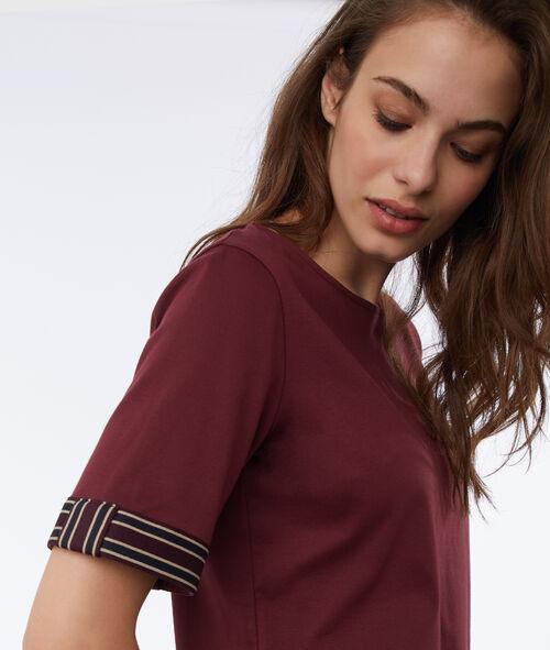 T-shirt manches brodées 100% coton