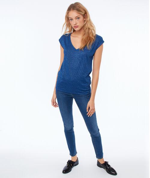 T-shirt col V à fils métallisés