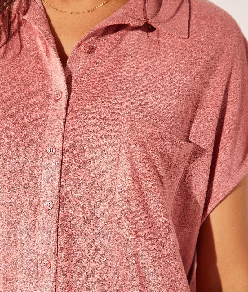 Robe chemise en velours éponge