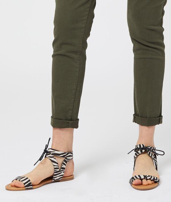 Sandales à lacets imprimé zèbre