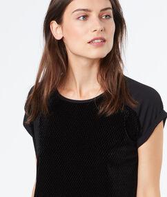 T-shirt bi-matière manches courtes noir.