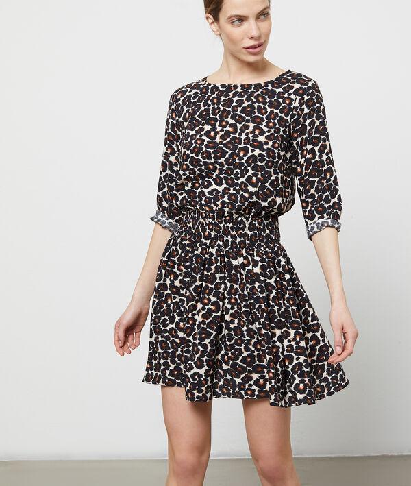 Robe smockée à imprimé léopard