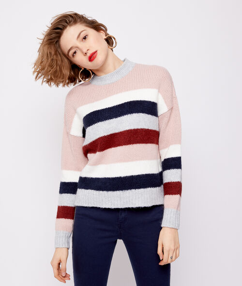 Pull grosse maille rayé