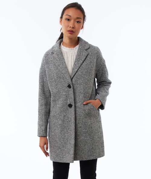 Manteau boutonné motifs chevrons