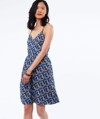 Robe imprimée à bretelles dos croisé bleu indigo.