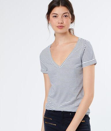 T-shirt rayé en coton blanc.