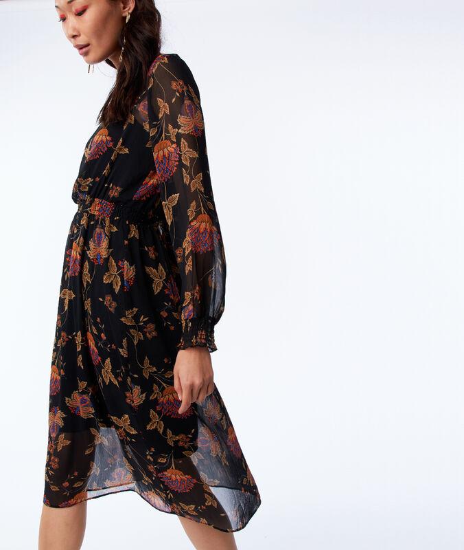 Robe doublée à imprimé floral noir.