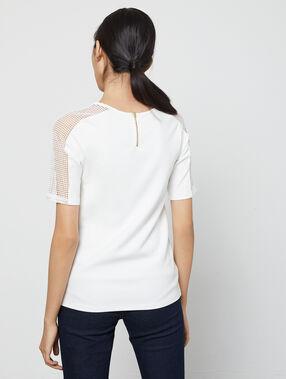 T-shirt dos zippé à manches guipure ecru.