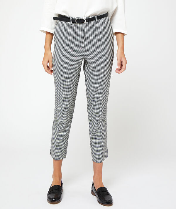 Pantalon ceinturé motifs pied de poule