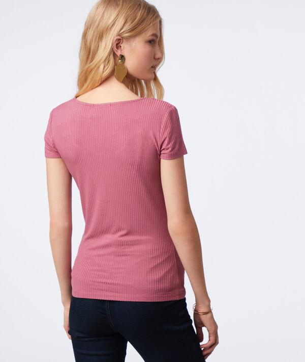 T-shirt côtelé col rond