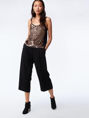Pantalon large avec bande latérale noir.