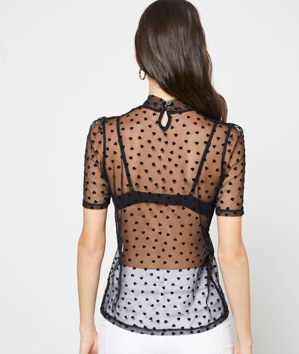 Top transparent à motifs coeur