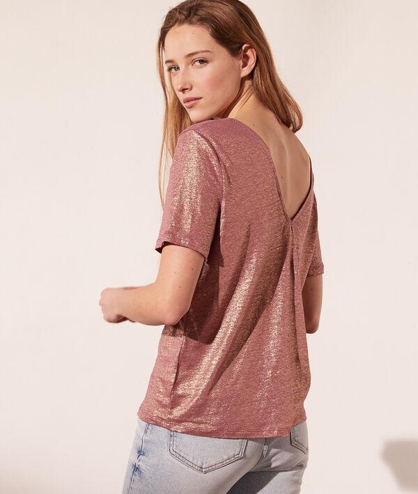 T-shirt col rond à fils métallisés