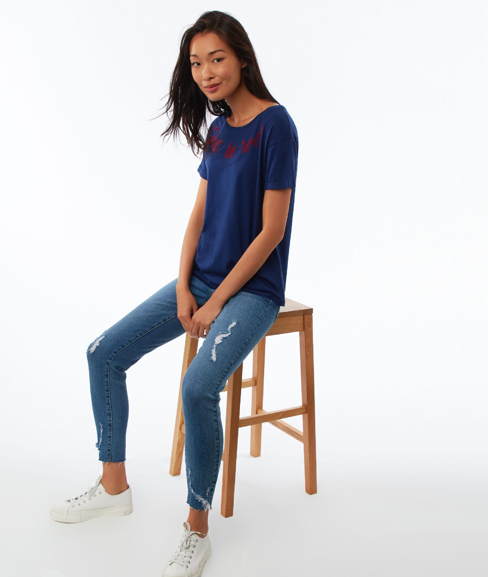 T-shirt à message - JUST - ULTRA MARINE - Etam 126262f64529