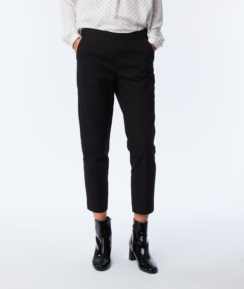 Pantalon 7/8 empiècements satin
