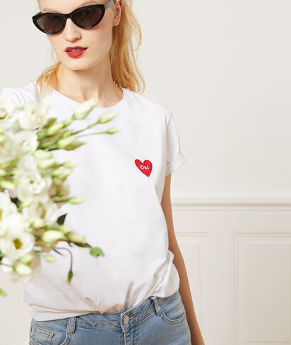 """T-shirt """"Oui"""" à cœur brodé 100% coton"""