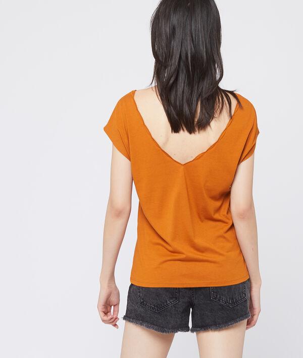 T-shirt décolleté brodé
