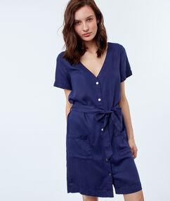 Robe chemise avec ceinture en tencel® bleu indigo.