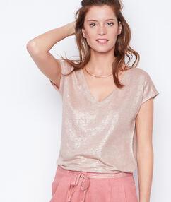 T-shirt col v effet lurex en lin rose.