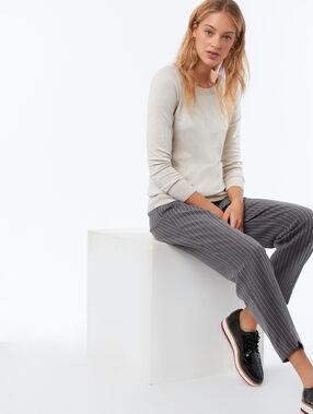 Pantalon taille haute ceinturé gris chiné foncé.