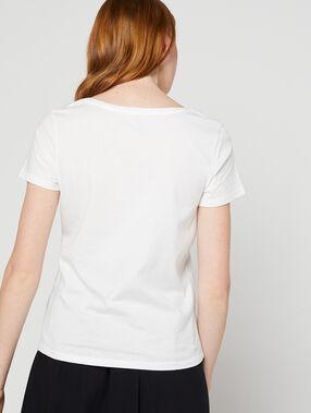 "T-shirt ""so french"" brodé 100% coton ecru."