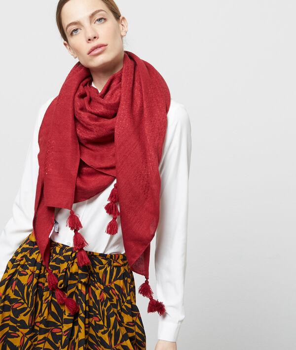 Foulard à pompons - ALBA - TU - Rouge - Femme - Etam